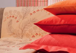 orange red fabric cushion