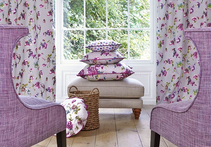 Made to measure long floral Lilac curtains with matching soft furnishings - Gallery