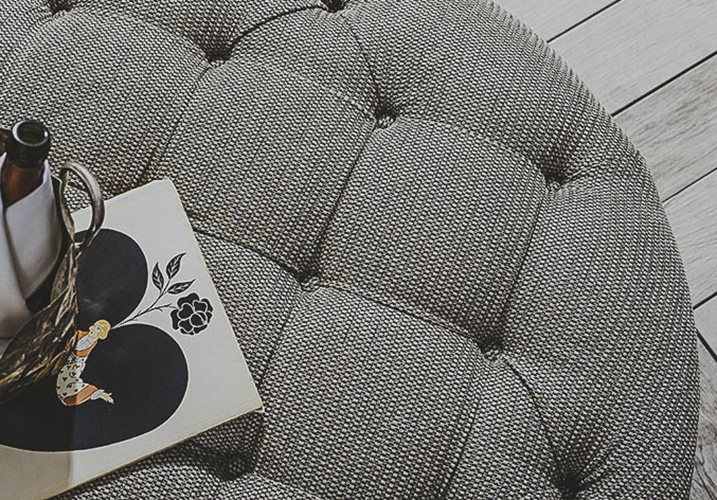 Large round Pouffe - Re-Upholstery